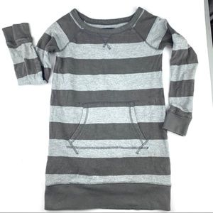 Gap Kids girls light and dark gray striped dress S